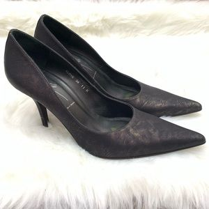 Donald J. Pliner Black Metallic Point Toe Pump